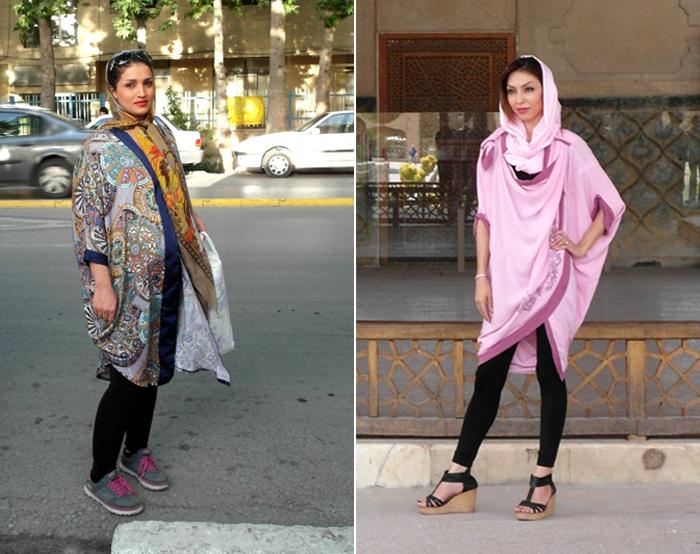 Als Frau im Iran darf man auch mal bunt tragen. Zwei Frauen tun dies hier mit farbenfrohen Tüchern.