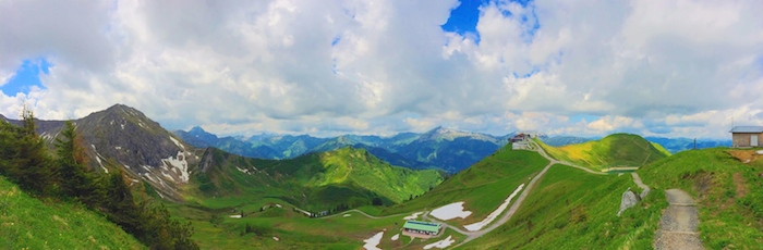 The panorama view from the top of the mountain in Kleinwalsertal