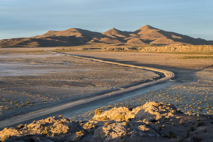 Sonnenuntergang in der Wüste in Südamerika