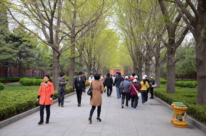 Auf dem Weg zum Mönch im Lama Tempel in Peking in China