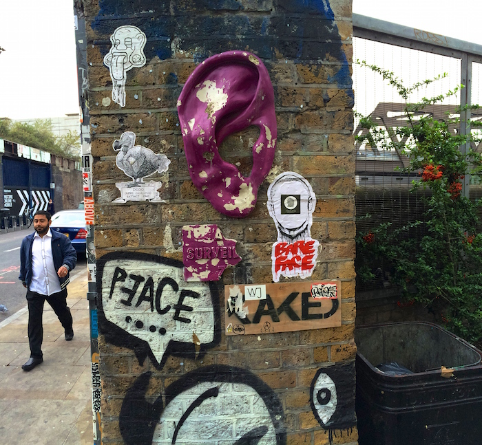 Streetart in London can be a huge plastic ear on a wall