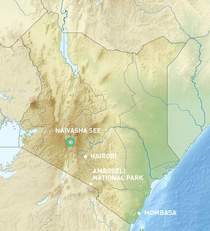 Landkarte von Kenia mit Lake Naivasha