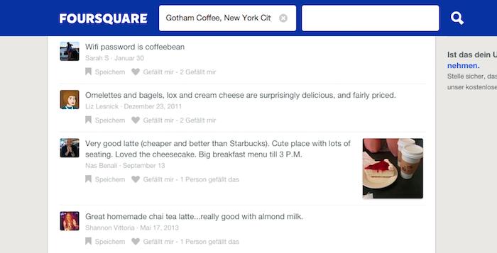 Einer der besten Reisetipps: Auf Foursquare steht oft das Passwort von Cafés, Restaurants und Hotels