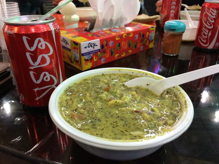 Backpacking Iran eating Ash soup