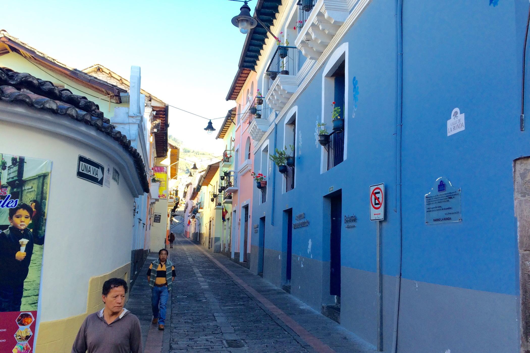 Calle la ronda in Centro Historico Old Town Quito
