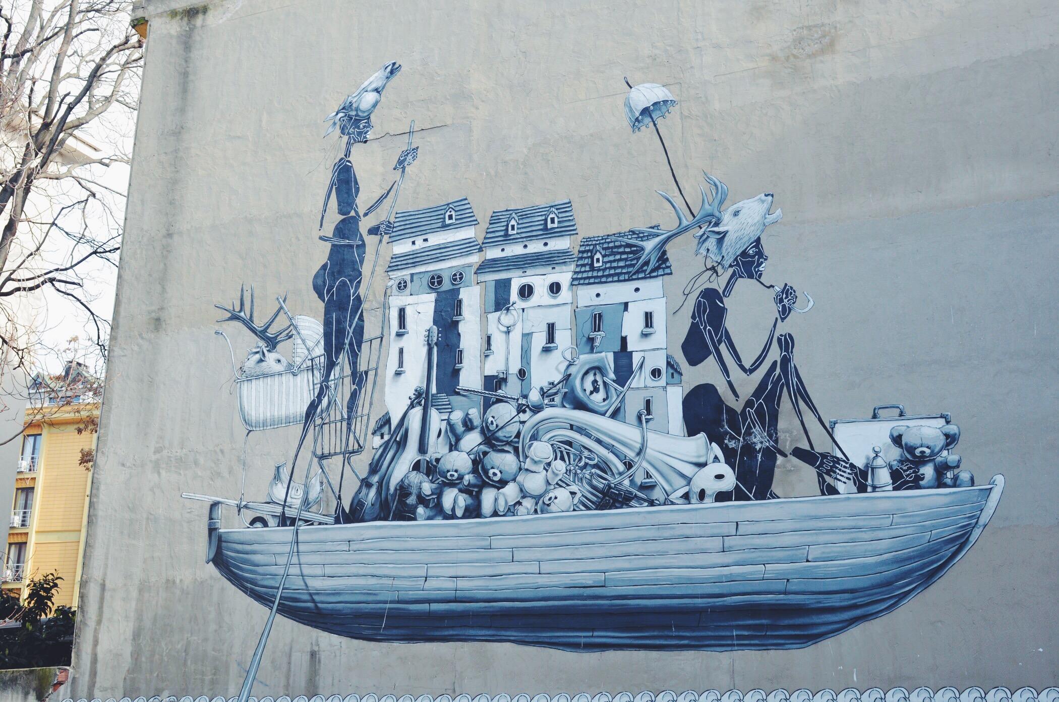 Street Art Istanbul Ship Mural