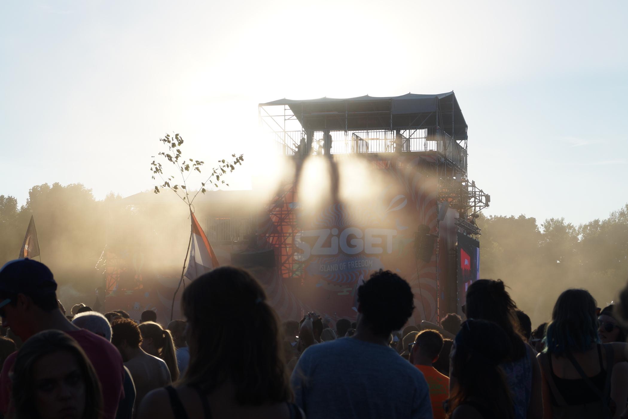 Sonnenuntergang auf dem Sziget Festival Budapest
